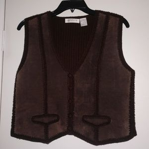 Liz Claiborne Suede & Merino Wool Button Up Vest